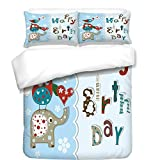 iPrint 3Pcs Duvet Cover Set,Birthday Decorations for Kids,Patchwork Inspired Owl Birds Elephant Flowers,Sky Blue and Light Blue,Best Bedding Gifts for Family/Friends