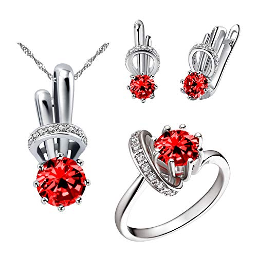 Uloveido Women's Red Cubic Zirconia Rabbit Bunny Necklace Stud Drop Earrings and CZ Promise Rings Birthday Presents Idea for Girl-Friend Women (Red, Size 9) T225