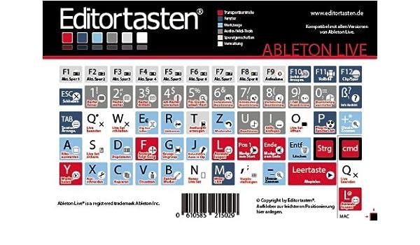 Ableton Live 6 - 9 Atajos de Teclado Pegatina para con (Comandos/Teclado ALEMÁN): Amazon.es: Instrumentos musicales