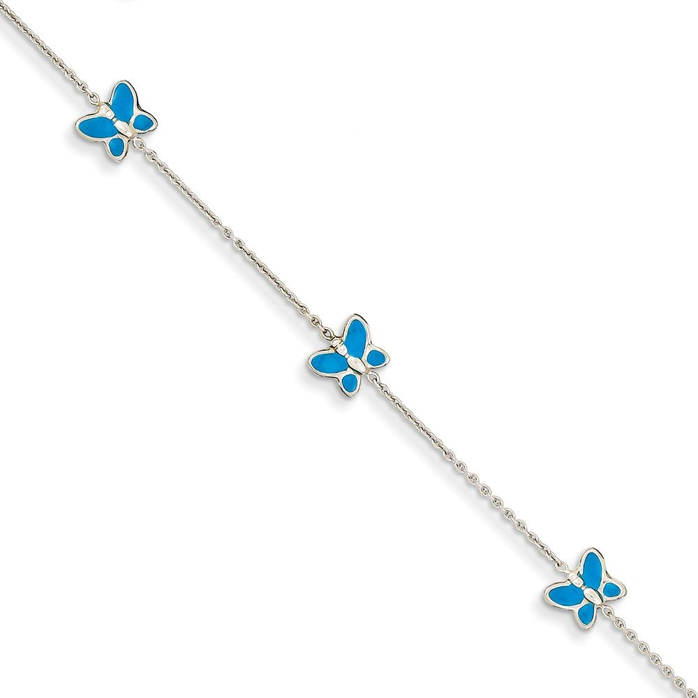 Top 10 Jewelry Gift 14k White Gold Blue Enameled Butterfly Anklet