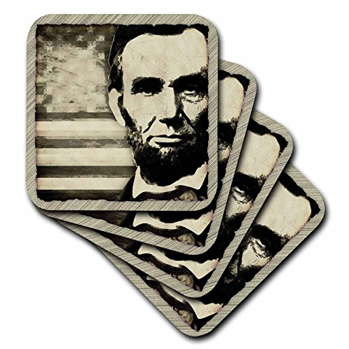 3dRose cst_52683_3 Abraham Lincoln-President Abraham Lincoln with American Flag in Sepia Tone Colors-Ceramic Tile Coasters, Set of 4