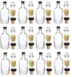 Nakpunar 12 pcs, 12 oz Heavy Base Glass Liquor Bottle with T-Top Synthetic Cork with Bonus Glass Bottle Stopper and Regular Bottle Cork - Made in the USA (12, 12 oz (375 ml))