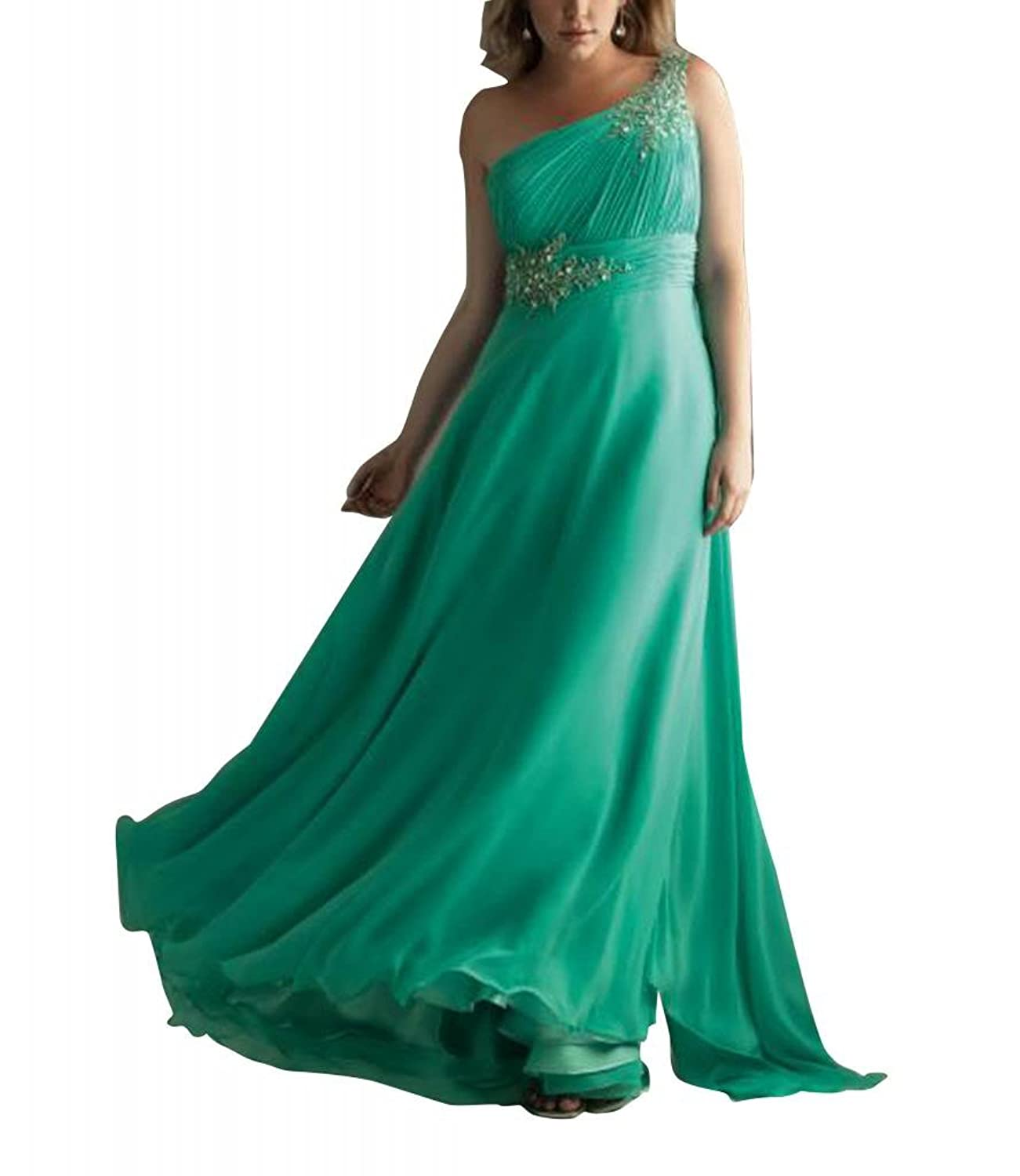 GEORGE BRIDE Sheath/ Column One Shoulder Floor Length Evening Dress With Beaded Appliques