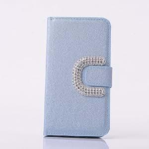 A Sunrise Shiny style Bling Diamonds Rhinestones Wallet Style Flip Magnet Leather Case for Samsung S5 960 (Blue)