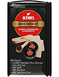 Shoe Shine Kit, Black (2 Tins, 1 Brush, 1 Dauber and 1 Cloth)