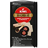 KIWI Black Shoe Shine and Shoe Polish Kit | Leather Shoe Cleaner for Dress Shoes and Boots | 2 Tins, 1 Brush, 1 Dauber and 1 Cloth