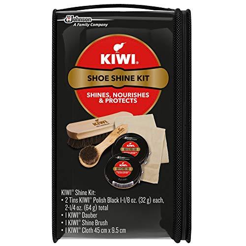 Kiwi Shoe Shine Kit, Black (2 Tins, 1 Brush, 1 Dauber and 1 Cloth)