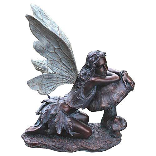 Fairy on Mushroom Bronze Finish 17