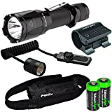 Fenix TK16 1000 Lumens Cree XM-L2 (U2) LED tactical Flashlight, Fenix ALG-01 Picatinny / Weaver weapon rail mount, Fenix AER-03 pressure switch and Two EdisonBright CR123A Lithium Batteries bundle