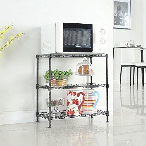 TimmyHouse Kitchen Baker Rack Utility Microwave Oven Stand Storage Workstation Shelf Black by TimmyHouse