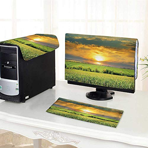 (Desktop Computer Cover 3 Pieces Decor Collection Corn Field and Sunrise on Summer Sky Natural Paradise Pasture Mourning Scratch Resistance /24