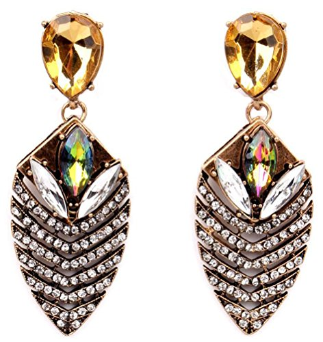 SunIfSnow Women Retro Big Leaf Shape Crystal Insect Earrings