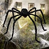 Giant Spider, Aiduy Scary Halloween Decorations Large Hairy Spider Halloween Outdoor Indoor Creepy Decor for House Yard, 79 Inch, Black