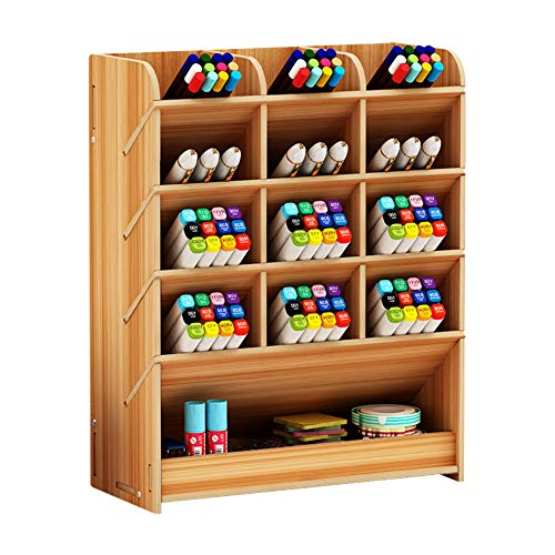 Organizador de escritorio de madera, caja de lapices de colores multifuncional, soporte para boligrafos multifuncional, estante de almacenamiento de mesa para el hogar/oficina/escuela b12 cherry wood