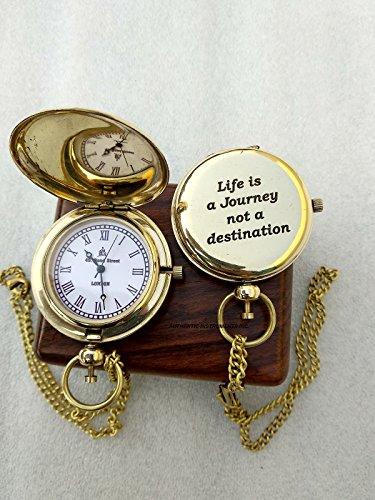 U.S Handicrafts Vintage Ship Pocket Watch Brass Chain, Nautical Maritime Royal Clocks Antique Items from U.S Handicrafts