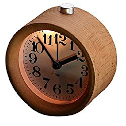Glomarts Creative Small Round Classic Wood Silent Desk Travel Alarm Clock With Nightlight by glomarts