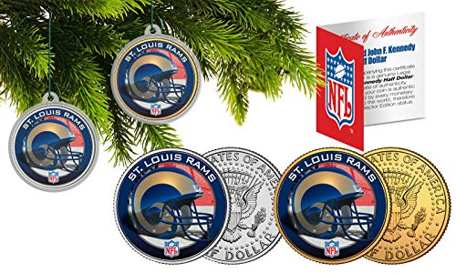 Licensed ST. Louis RAMS NFL Christmas Tree Ornament Colorized 24KT Gold JFK Half Dollar 2 Coin Set! W/H COA!