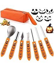Hukermoon Halloween pompoensnijset, 7-delige pompoensnijset met draagbare koffer, Halloween decoratie voor roestvrij staal, professioneel snijgereedschap voor volwassenen en kinderen