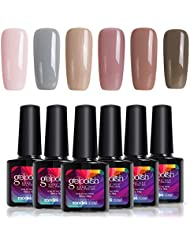 Soak Off UV LED Gel Nail Polish Set, Great Choice for Office Lady, 6 Pcs, 0.33 OZ, Modelones