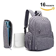 SKYLA HOMES - Baby Diaper Backpack | Scratch Proof Diaper Bag with Insulated Pockets | Large Size Water-Resistant Baby Bag | Multi-Functional Travel Knapsack (Grey)