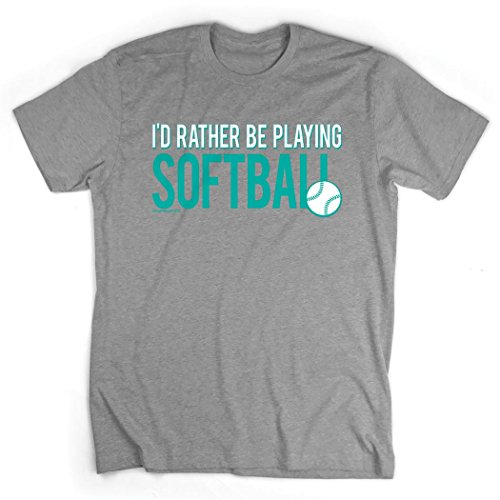 Id Rather Be Playing Softball T-Shirt   Softball Tees by ChalkTalk SPORTS   Sport Gray   Youth Large