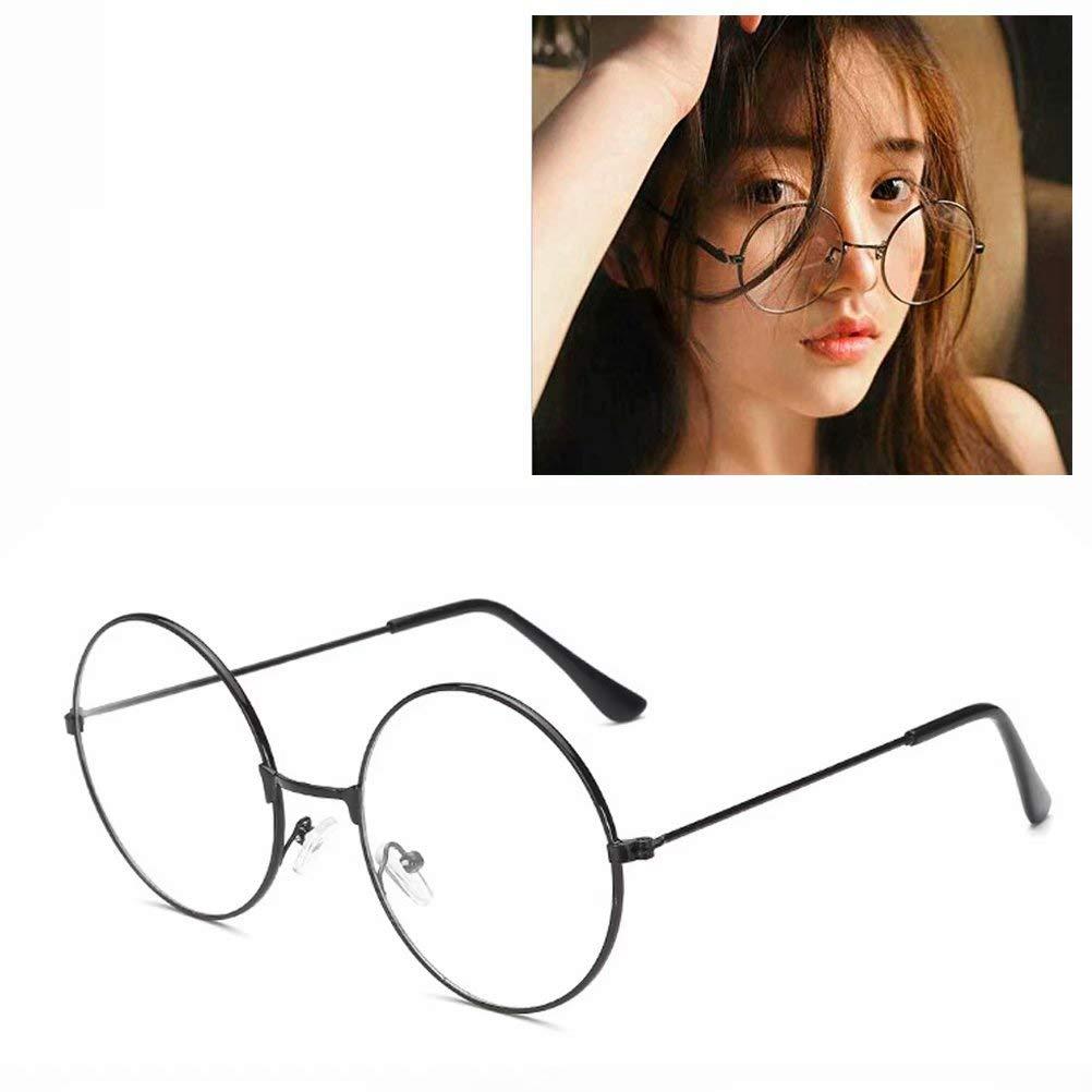 Unisex Round Glasses Metal Frame Summer Retro Clear Lens Vintage Geek Oversized Eyeglasses by BByu(Sliver)