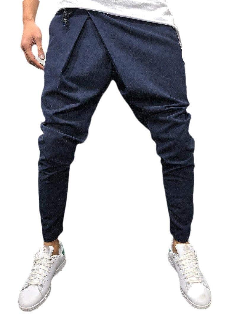 XiaoShop Mens Simple Slim-Tapered Long Pants Tie-Belt Drape Skinny Work Pant