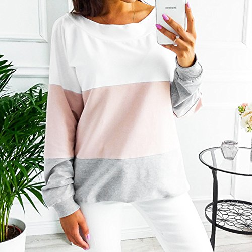 Juleya Rose Dentelle Sweatshirt Stripe Manches Casual Loose Shirts Longues T Ouvert Tops Dos Femme Blouses 6wr1TYx6
