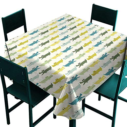 Treasures Alligator Desk (ScottDecor Kids Outdoor Tablecloth Crocodile Characters in Cartoon Style Funny Faces Animal Alligators Childish Yellow Green Teal Tablecloth for Square Table W 70