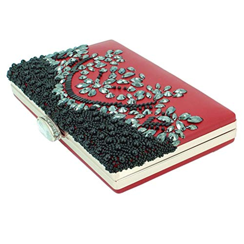 Dress Wristlet Bag Women Clutches Beaded Hand Red Handbag Party Purse Wedding for Evening and 410qxX