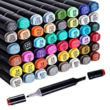 48 Colors Alcohol Dual Tip Art Markers, Permanent Marker Pen Highlighter, Suitable for Beginners Adult Children Coloring Sketching and Card Making, Office Marking, Art Creation, Architecture, Clothing