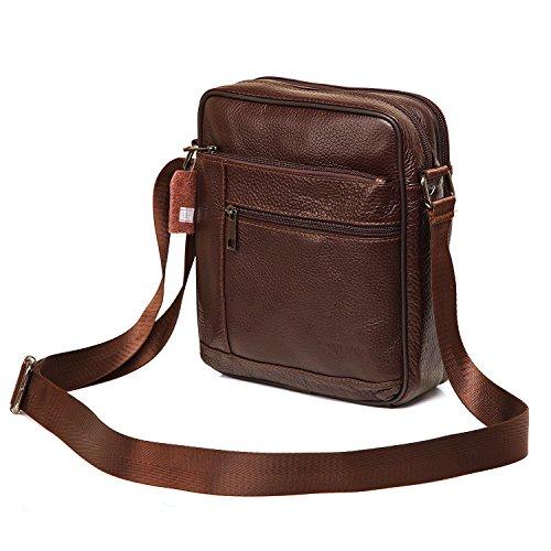 Small Genuine Leather Cross Body Messenger Bags Satchel Shoulder Bag for Men Brown (Leather Man Bag)