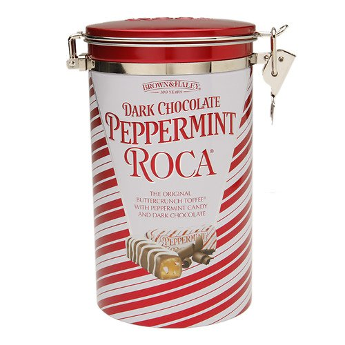 Brown & Haley Dark Chocolate Peppermint Roca - The Original Buttercrunch Toffee with Peppermint Candy and Dark Chocolate - 14 oz. metal tin