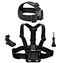 Smatree Head Strap Mount and Chest Mount for GoPro Session, Hero 5, 4, 3, 2, 1