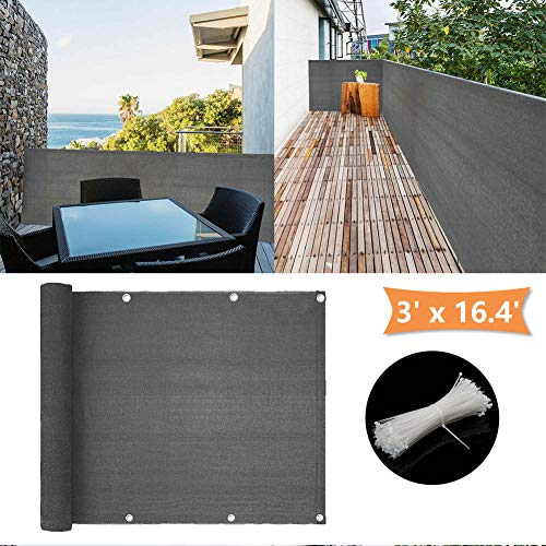 (zimo Balcony Privacy Shield UV Protection Opaque Weather-Resistant Balcony Cover 3×16.4' (Grey))