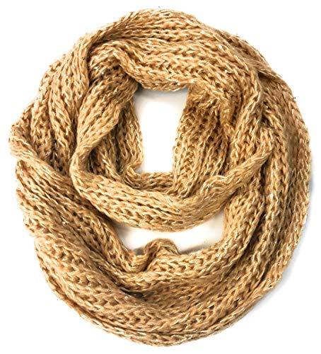 (Women's Soft Winter Warm Thick Chunky Knit Crochet Cowl Neck Warmer Infinity Loop Scarf (Sandbar Beige))