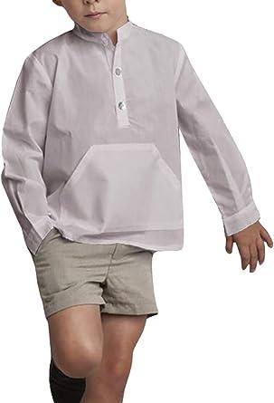 Hestenve Camisa de Lino con Botones y Cuello de Mandarina para niños - Gris - Altura 110 cm/3-4 años: Amazon.es: Ropa y accesorios