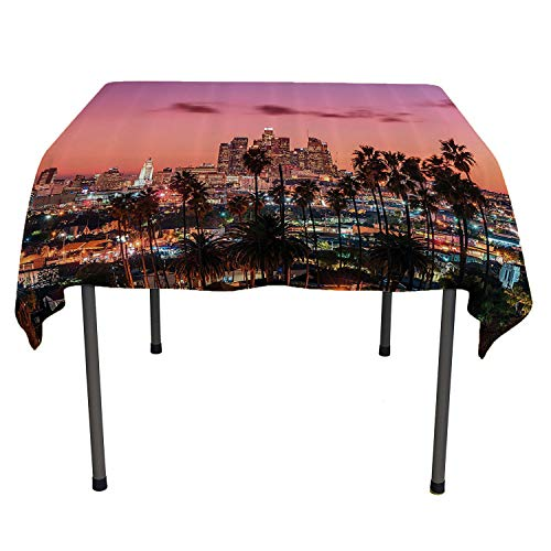 United States Party Supplies Tablecloth Vibrant Sunset Twilight Scenery Los Angeles Famous Downtown with Palm Trees Multicolor Washable Picnic Tablecloth Spring/Summer/Party/Picnic 50 by 80 -