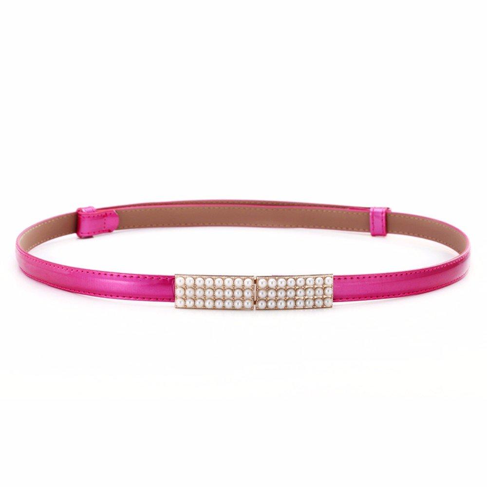 SAIBANGZI Ms Women All Seasons Pearl Leather Belt Fine Fashion Candy Color Decorative Belt Girlfriend Present W 95Cm