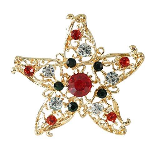 Bejeweled Christmas Goldtone Rhinestone Filigree Star Pin (Bejeweled Filigree)