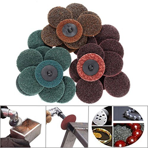 Quick Change Disc 15 Pieces 2 Inch Roll Lock Surface Conditioning Sanding Disc Coarse/Medium/Fine/with Mandrel Disc Holder Paor