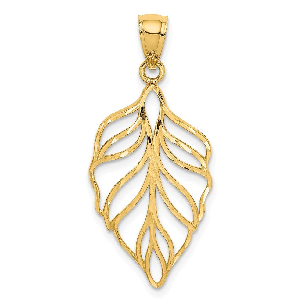 14k Yellow Gold Leaf Dangle Pendant