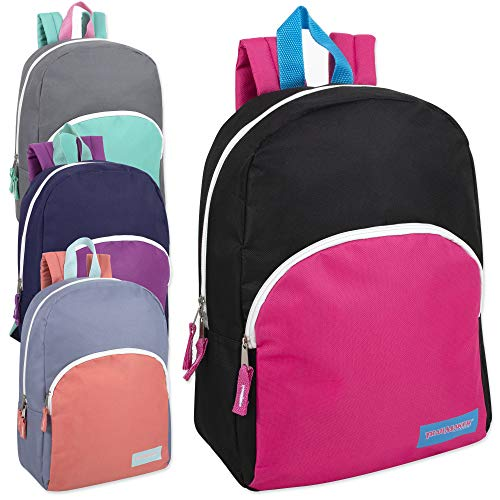 15 Inch Backpacks For Kids with Padded Straps Wholesale Bulk Case Pack Of 24 (Girls 5 Color Assortment)