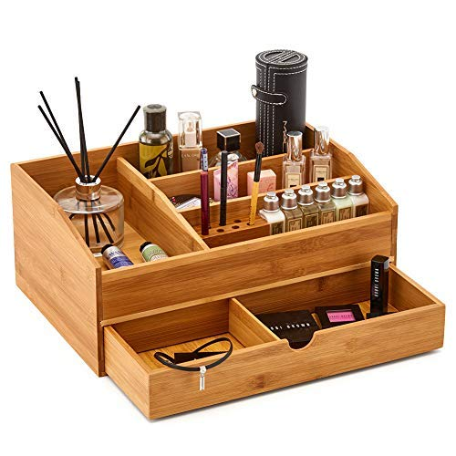 EZOWare Bamboo Desk Multifunctional Make up Tray Drawer Storage Organizer for Bathroom Countertop Beauty Products, Hair Care, Make Up, and More
