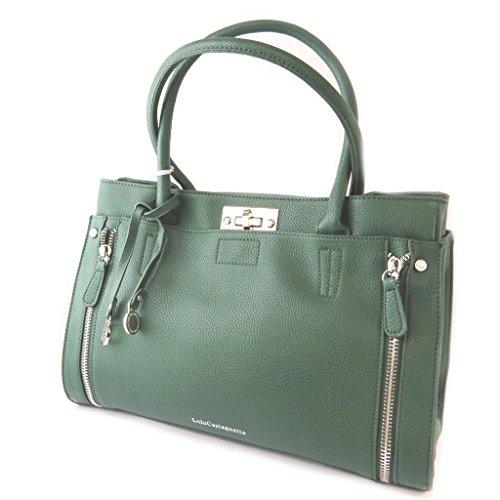 Designer-tasche Lulu Castagnetteflasche grün - 37x23x15 cm.