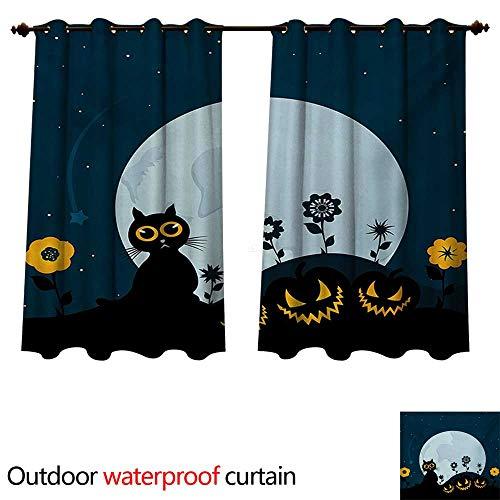 WilliamsDecor Halloween Outdoor Curtain for Patio Cute Cat