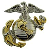 US Marine Corps Emblem, E2, Left Cap Gold Silver
