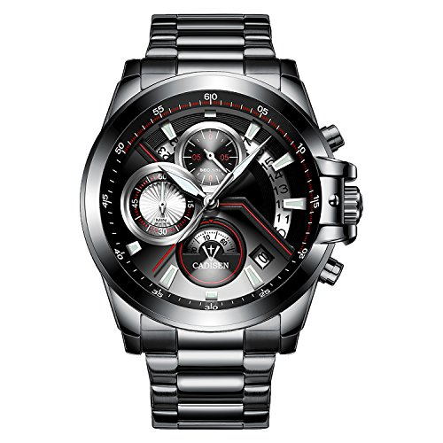 Chronograph Watch Stainless Steel Strap (CADISEN Men's Quartz Analog Chronograph Luxury Sport Wrist Watch with Stainless Steel Strap (C9016-Black-S))
