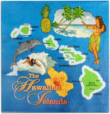 Island Map Beverage Napkins Set of 20 by KC Hawaii