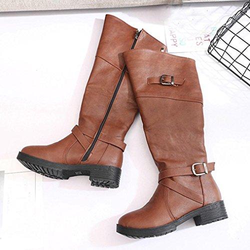 hebilla Botas Calzado Martin Zapatos Botas mujer cuero plano Marrón Manadlian n46XT